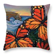 Monarch Butterflies At Natural Bridges Throw Pillow by Jen Norton