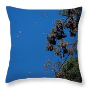 Monarch Butterflies Flying Throw Pillow