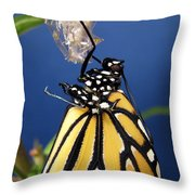Monarch Butterfly Emerging From Chrysalis Throw Pillow