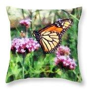 Monarch Butterfly On Pink Lantana Throw Pillow