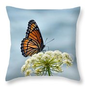 Monarch Butterfly On River Throw Pillow