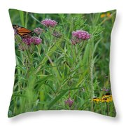 Monarch In The Wildflowers Throw Pillow