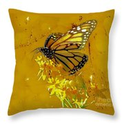Monarch On Gold Throw Pillow