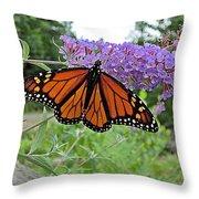 Monarch Under Flowers Throw Pillow