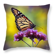 Monarch With Sunflower Throw Pillow
