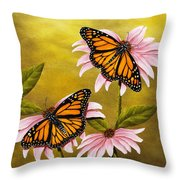 Monarchs And Coneflower Throw Pillow