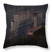 Monastary At Meteora  Greece   #9635 Throw Pillow