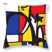 Mondrian Bike Throw Pillow