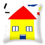 Mondrian Child Landscape Drawing Throw Pillow