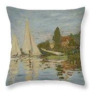 Monet Regattas At Argenteuil 1872 Throw Pillow