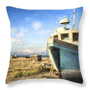Monet Style Digital Painting Abandoned Fishing Boat On Beach Landscape At Sunset Throw Pillow