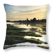 Monet Style Digital Painting Beautiful Summer Sunset Landscape Over Low Tide Harbor With Moor Throw Pillow