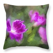 Monet Style Digital Painting Close Up Of Vibrant Pink Kaori Border Plant Throw Pillow