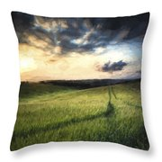 Monet Style Digital Painting Stunning Landscape Dawn Sunrise With Rocky Coastline And Long Ex Throw Pillow
