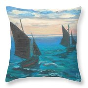 Monet's Boats Leaving The Harbor Throw Pillow