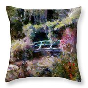 Monet's Bridge In Autumn Throw Pillow