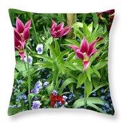Monets Garden Throw Pillow