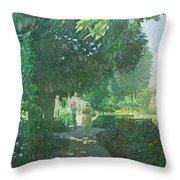 Monets Garden Oil On Board Throw Pillow
