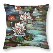 Monet's Pond With Lotus 1 Throw Pillow