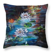 Monet's Pond With Lotus 11 Throw Pillow
