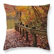Monet's Trail Throw Pillow by Debra and Dave Vanderlaan