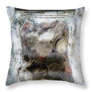 Money Frozen In A Jar Throw Pillow by Skip Nall
