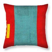 Mongolia Flag Vintage Distressed Finish Throw Pillow