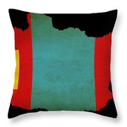 Mongolia Outline Map With Grunge Flag Throw Pillow