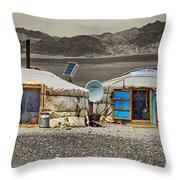 Mongolian Yurts Throw Pillow