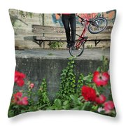 Monika Hinz Doing Elegant Bmx Flatland Trick Throw Pillow