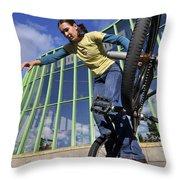 Monika Hinz Riding Bmx Flatland Throw Pillow