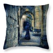 Monk In A Dark Corridor Throw Pillow