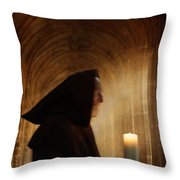 Monk With Candle In Cathedral Throw Pillow