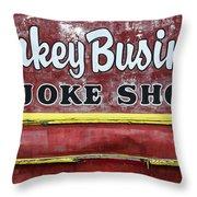 Monkey Business A Joke Shop Throw Pillow
