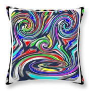 Monkey Dance Created Out Of Beads Of The Border Creative Digital Graphic Work Cartoon Comedy Backgro Throw Pillow