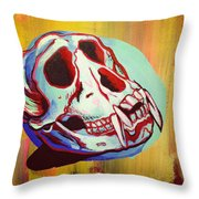Monkey Skull Throw Pillow