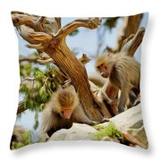 Monkeys On Mountain Throw Pillow