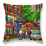 Monkland Tavern Corner Old Orchard Montreal Street Scene Painting Throw Pillow