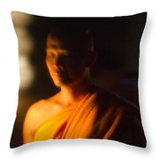 Monks At Yi Peng Throw Pillow