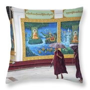 Monks In Rain At Shwedagon Paya Temple Yangon Myanmar Throw Pillow