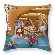 Monks Meal Throw Pillow