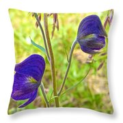 Monkshood On Alpine Tundra Trail At  Eielson Visitor's Center In Denali Np-ak  Throw Pillow