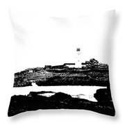 Monochromatic Godrevy Island And Lighthouse Throw Pillow