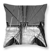 Monochromatic View Of Brooklyn Bridge Throw Pillow