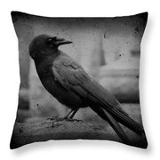 Monochrome Crow Throw Pillow
