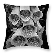 Monochrome Foxglove Throw Pillow