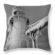 Monochrome Frozen Lighthouse Grand Haven Michigan Throw Pillow