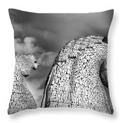 Monochrome Kelpies Throw Pillow