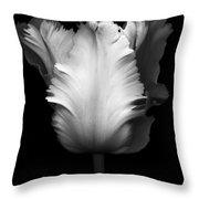 Monochrome Parrot Tulip Throw Pillow