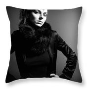 Monochrome Woman Throw Pillow